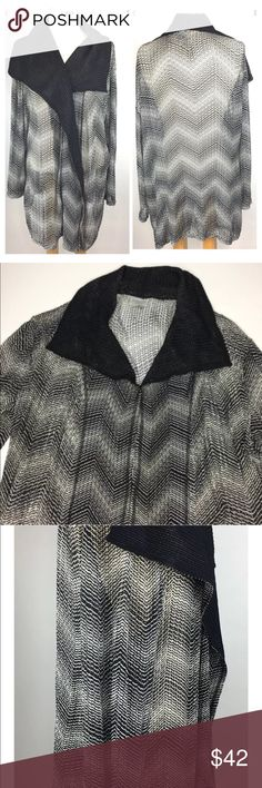"""Chico's Travelers Cover JacketBlack Lagonlook L Chico's Travelers Women Cover Jacket Size 2 (Large 12) Draped Open Front Wing Collar Light Weight Mesh  Approximate Measurements Bust: 27"""" (seam to seam) Shoulders: """" (seam to seam) Sleeves: 3/4 (shoulder seam to cuff) Length: 36"""" (shoulder to bottom of hem) Please measure your own clothes carefully, lying flat,seam to seam,and compare.  Condition Pre-ownedwith no holes, tears or stains Smoke & pet free, clean home Chico's Jackets…"""
