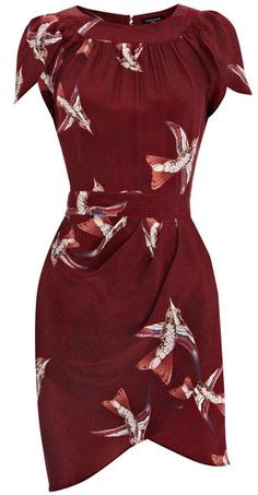 Bird print + sleeve style + drape of the skirt