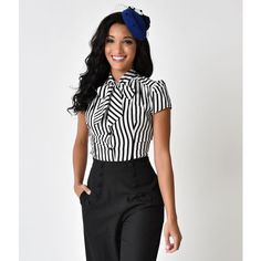 Heart of Haute Retro Style Black & White Stripe Cap Sleeve Estelle... ($64) ❤ liked on Polyvore featuring tops, blouses, cap sleeve blouse, black and white stripe blouse, bow blouses, bow collar blouse and bow tie blouse