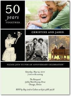 Years Together - Anniversary Invitations in Wintergreen or Powder Blue   Kinohi Designs