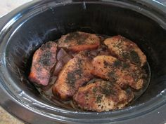 Slow cooker apple pork chops- uses all staples: onions, herbs, pork, apples, cider vinegar and broth