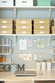 Unclutterer: Daily tips on how to organize your home and office. This is exactly what I need to do in our home office/craft room turned clutter storage room