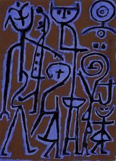 Paul Klee, Masken im Zwielicht (Masks in Twilight), Oil on paste board Kandinsky, Klimt, Paul Klee Art, Critique D'art, Art Walk, Henri Matisse, Abstract Art, Abstract Paintings, Oil Paintings