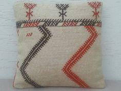 16x16 MODERN Bohemian Home Decor,Outdoor Handwoven Turkish Kilim Pillow Cover,Decorative Embroidery Kilim Pillow,Accent Pillow,Burlap Pillow...