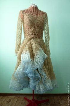 """Купить Платье вязаное """"Весенний цветок"""" - бежевый, платье, вязанное платье, мохеровое платье"""
