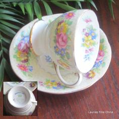 Royal Standard by Chapmans BRUSSELLS LACE Bone China Tea Cup and Saucer