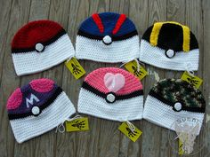 Complete set of Pokeball beanies for the upcoming Kilgore Geekend- May the Be With You From Left to right: Pokeball, Greatball, Ultraball, Masterbal. Crochet Kids Hats, Crochet Cap, Crochet Beanie, Pokemon Hat, Pikachu Pokeball, Pokemon Crochet Pattern, Crochet Character Hats, Silly Hats, Crochet Disney