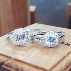 Dreamy engagement rings. I woulnd't complain getting something like this//