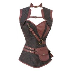 Brown Brocade Pattern Steampunk Corset with Faux Leather Brown Removable Pouch £120.00