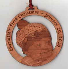 Photo engraved wood ornament!