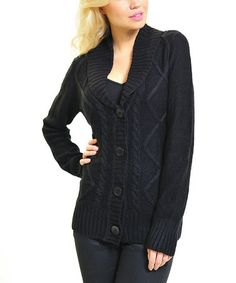 Look what I found on #zulily! Black Cable-Knit Shawl Collar Cardigan by VICE VERSA #zulilyfinds