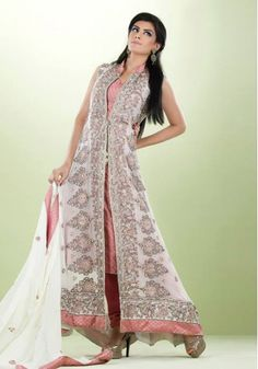 White/Peach Embroided A-Line Ankle Length Gown Special Occasion Dress