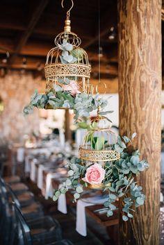 cute vintage style bird cage wedding floral idea