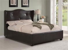 Oliver Dark Brown Wing Low-Profile Bed