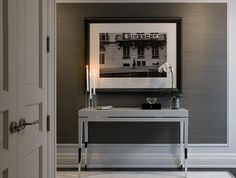 Architect Dens Libraries Offices Console Table White Grass Wallpaper Charcoal Gray And Crisp Textured Grasscloth Vinyl Decor, Home, Grey Textured Wallpaper, Wallpaper Accent Wall, White Console Table, Grey Grasscloth Wallpaper, Interior Design, House Interior, Accent Wall Entryway