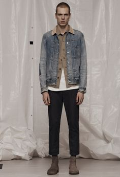AllSaints Men's February Lookbook Look 4: Daruma Denim Jacket, Dieppe Shirt, Tyed Crew, Carlow Trouser, Reiner Boot