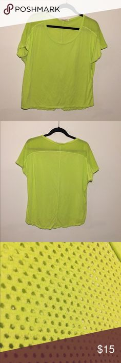 Like Green Mesh Workout Tee! Size large! Lime green color fabric with mesh panels for extra breathability! Very covering and flowy fit! Smoke free home! Make me an offer😊💕 Tops Tees - Short Sleeve