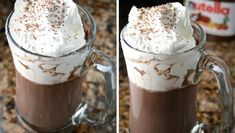Beautify your morning with this delicious hot chocolate recipe with nutella and other nutella recipes Nutella Brownies, Nutella Hot Chocolate, Hot Chocolate Recipes, Köstliche Desserts, Delicious Desserts, Yummy Food, Easy Drink Recipes, Yummy Drinks, Best Nutella Recipes