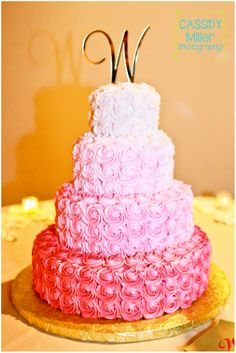 Pink Ombre Wedding Cake | cassidy korn miller © 2013
