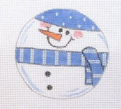 $12.95   Roly Poly Snowman Christmas Ornament Handpainted Needlepoint Canvas #Unbranded