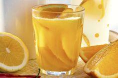 Varm appelsindrikk med honning og ingefær Pint Glass, Glass Of Milk, Dessert, Drinks, Tableware, Food, Fine Dining, Dessert Food, Drinking