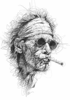 Vince Low: Keith Richards - //note: comes out from the cloud of line Pencil Art Drawings, Art Sketches, Art And Illustration, Arte Grunge, Scribble Art, Pen Art, Portrait Art, Portraits, Face Art