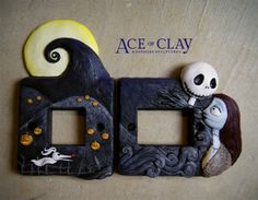 aceofclay ace of clay custom nightmare before christmas light switch plate cover UK united Kingdom design clay sculpey sculpture polymer polymer clay