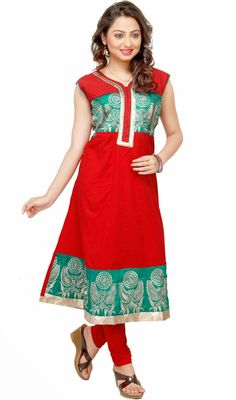 Look adorning draped in this red cotton tunic. The ethnic lace and resham work to your attire adds a sign of magnificence statement to your look. #LatestClassicalKurtis