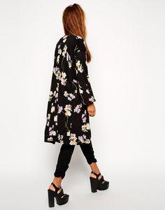 Image 1 ofASOS Premium Maxi Kimono in Floral Print