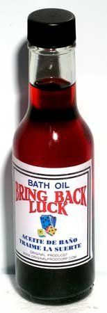 Bath Oil: Bring Back Luck 5oz (RBLUC) - by AzureGreen. $5.05. Specially formulated to help you with your misfortune, this bath oil is a great aid for helping you find your luck again. Sprinkle a small amount into your bath waters during your ritual bath to help you bring good luck back into your life, even as you wash away the bad. This is a 5 fl oz bottle of oil, for external use only.
