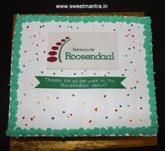 Corporate IT Company Project Completion celebration theme customized fresh cream designer cake with company logo at Pune