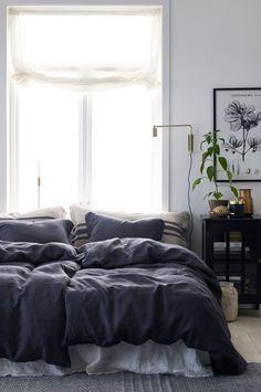 grey bedding, large window, art and plants