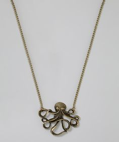 Gold Octopus Pendant Necklace by Kitschy Cute #zulily #zulilyfinds