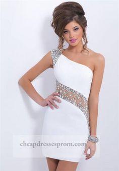 Beaded White Sheer One Shoulder Short Prom Dresses 2014