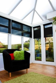 These Conservatory blinds we fitted, allow you to see out - but give you full privacy from outside looking in. They also keep the summer heat at bay [if we ever get there this year!]. Available in different colours...just ask what we can do for your windows! email thecurtaingallery@btconnect.com | T 020 8866 0555