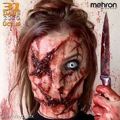"""October 28th finalist @emmb_sfx Thanks to our friends at @MehronMakeup Artist Inspo: """"I wanted to create my own slasher type serial killer I call her Inflictor"""" Products used: Synwax and Stage Blood #mehronmakeup #synwax #stageblood #sfxmakeup #specialeffectsmakeup #gore #sfxblood #creepymakeup #creativemakeup #waxwounds #sfx #halloweenmakeup #halloween2020 Halloween Makeup Looks, Halloween Make Up, Creepy Makeup, Mehron Makeup, Special Effects Makeup, Professional Makeup, Horror, Thankful, 31 Days"""
