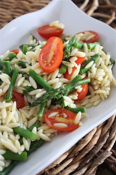 Lemon orzo Salad with Asparagus and Tomatoes.