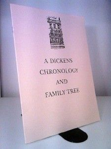 JUNE 9 2012 Charles Dickens dies on this day in 1870. BOOK OF THE DAY: A Dickens Chronology and Family Tree Dickens House. Dickens House 1984. 10pp pamphlet in card wraps, size quarto (9.5 x 7 inches). Near fine copy, bright tight and clean, staples clean.  £14.95