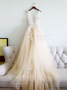 Champagne v neck tulle lace applique long prom dress, evening dress, Customized service and Rush order are available Prom Dresses 2018, Unique Prom Dresses, Used Wedding Dresses, Perfect Wedding Dress, Evening Dresses, Beautiful Dresses, Bridal Gowns, Wedding Gowns, Tulle Lace