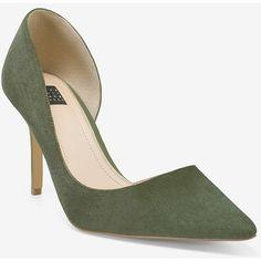 White House Black Market Ella Military Green Suede d'Orsay Pumps ($130) ❤ liked on Polyvore featuring shoes and pumps