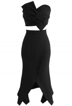 Sweet Knot Bustier Top and Flap Skirt Set in Black