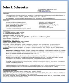 sample systems administrator resume experienced