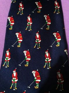 St Nicks Tie Shop Mens Christmas Imported Silk Necktie Santa Playing Golf  #StNicksTieShop #NeckTie
