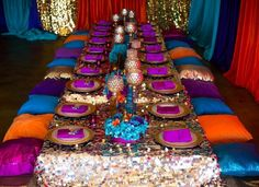 Loving the gorgeous tablesacpe at this Arabian Nights Birthday Party!! See more party ideas and share yours at CatchMyParty.com #arabiannights #tablescape