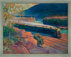 In the Mohawk Valley. The Twentieth Century Limited, New York Central Lines. Circa 1920.