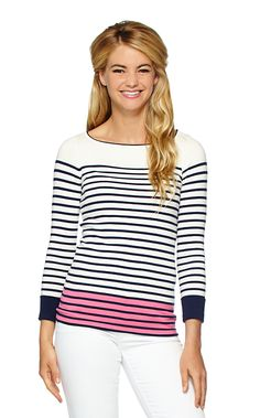 The Maria Boatneck striped sweater is exactly what you need when there's a little chill in the air. This striped pullover sweater can be paired with shorts or white denim depending on your location.
