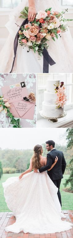 A dreamy blush pink and mauve wedding shoot with a floral Hayley Paige wedding dress and romantic spring flowers! #wedding #weddings #weddingideas #engaged #hayleypaige #weddingdress #pink #pinkweddings