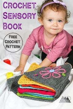 Crochet projects 416512665536309261 - Make a beautiful crochet sensory book with this free crochet pattern. This book is great for babies and toddlers and is very easy to put together. Crochet Baby Toys, Crochet Amigurumi, Crochet Gifts, Crochet For Kids, Baby Knitting, Free Crochet, Crochet Children, Crochet Toddler, Crochet Beanie