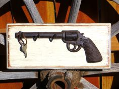 Rustic Americana Iron Gun Pistol Key Holder Hook Wall Mounted Western Deco