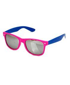 Rhodo & Blue Leg Sunglasses with Silver Mirror Lenses